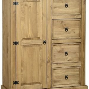 Corona 1 Door 4 Drawer Low Wardrobe Pine 1