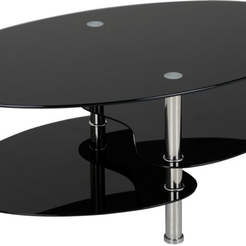 CARA COFFEE TABLE BLACK GLASSSILVER 2019 02 300 301 007