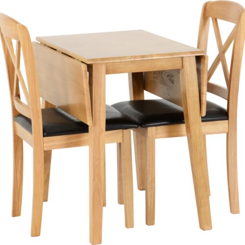 MASON DOUBLE DROP LEAF DINING SET OAK VARNISHBROWN PU 2020 400-401-170 02