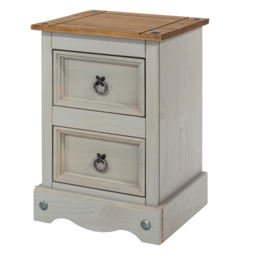 CRG509 Corona Washed Grey 2 drawer petite bedside cabinet