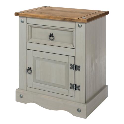 CRG510 Corona Washed Grey 1 door 1 drawer bedside cabinet