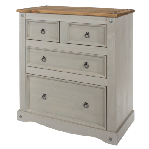 CRG512 Corona Washed Grey 2+2 drawer chest