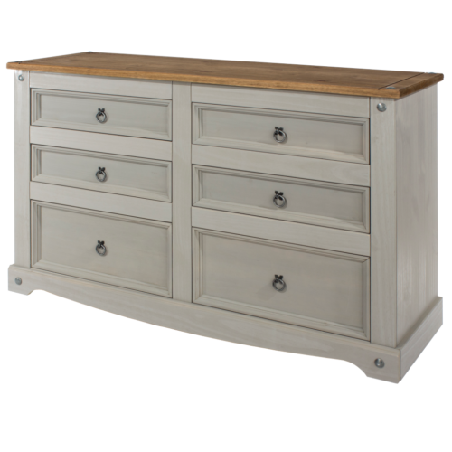CRG513 Corona Washed Grey 3+3 drawer wide chest