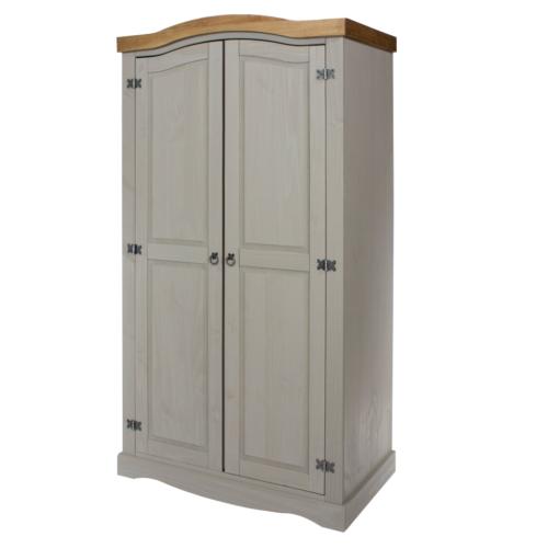 CRG520 Corona Washed Grey 2 Door Wardrobe