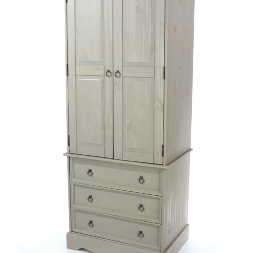 CRG523 Corona Washed Grey 2 Door 3 Drawer Wardrobe