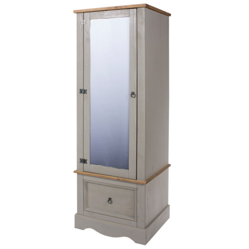 CRG525 Corona Washed Grey armoire with mirrored door