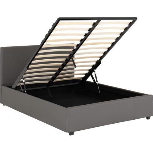 Prado Plus 5' Storage Bed Grey Faux Leather - IW Furniture